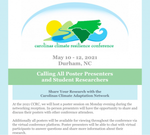 [Submission Deadline] Student Poster Competition at the Carolinas Climate Resilience Conference @ Durham Convention Center